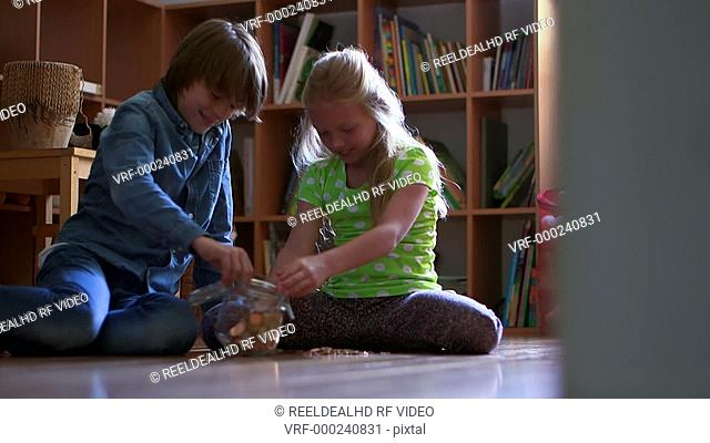 Boy and girl counting coin in domestic room