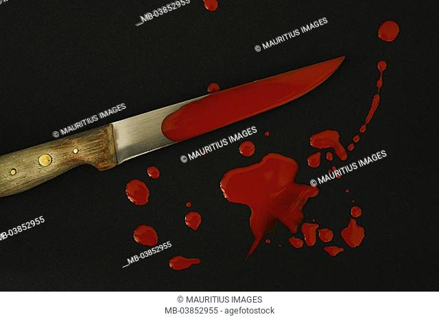 Kitchen-knives, bloody, blood-squirts, knives, blood, bloodstains, blood-tracks, humanly, color red, inattentiveness, misfortune, concept, accident, stabbing