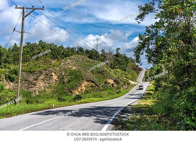 A road to Kampung Padawan, Sarawak, Malaysia