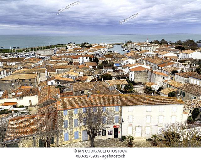 view from roof of Saint Martin Church, Saint-Martin-de-Re, Ile-de-Re, Charente-Maritime Department, Nouvelle Aquitaine, France