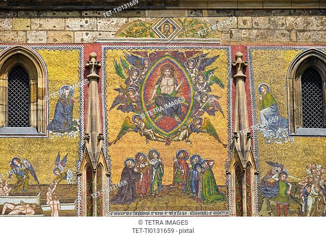Religious mosaic on cathedral wall