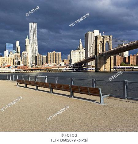 USA, New York City, Manhattan skyline with Brooklyn Bridge
