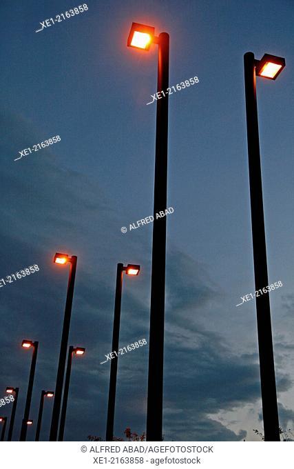 Streetlights, sunset, L'Hospitalet de Llobregat, Catalonia, Spain