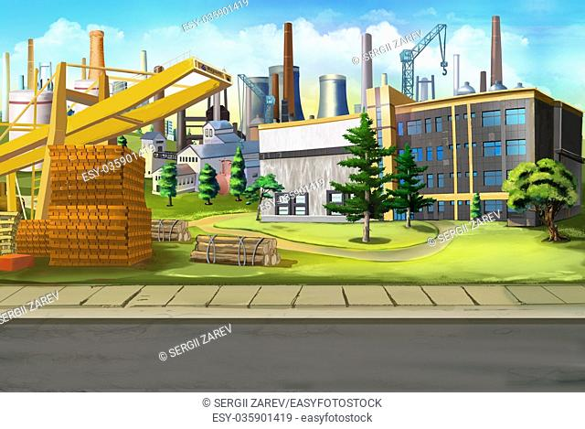 Digital painting of the Industrial landscape with factories and construction cranes