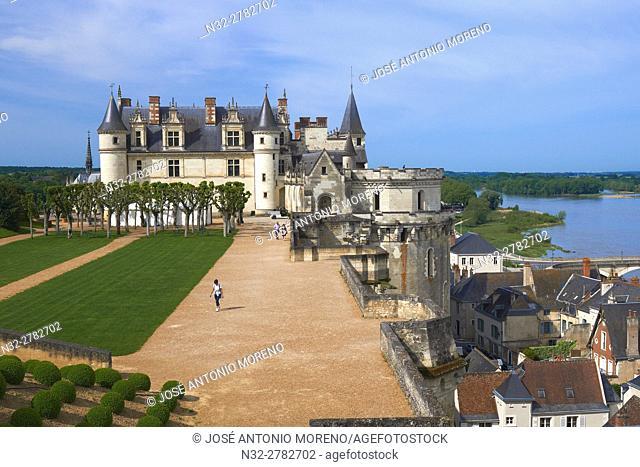 Amboise, Castle, Gardens, Chateau d'Amboise, Amboise Castle. Indre-et- Loire, Loire Valley, Loire River, UNESCO World Heritage Site, France