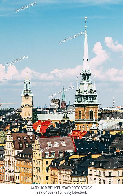 Stockholm, Sweden. Historical Center With Tall Steeple Of The German Church Or St. Gertrude's Church In Gamla Stan, The Old Town In Central Part Of Swedish...