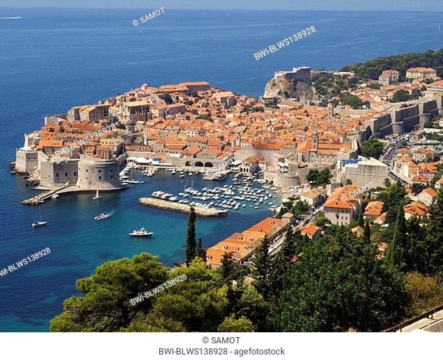 view on the historic oldtown with harbour of Dubrovnik, Croatia, Dubrovnik
