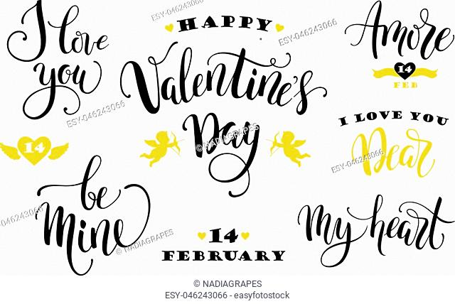 Happy Valentines Day. Set of hand drawn inscriptions. Modern calligraphy and lettering. Vector design element for card, poster, flyer, banner