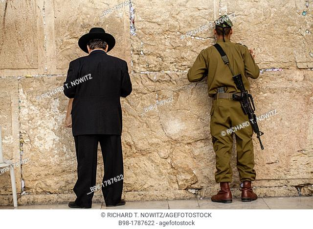 Jews offer prayers in Old City of Jerusalem at Western Wall