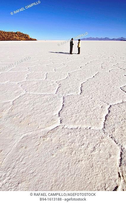 Salar de Uyuni the world's largest salt flat at 10,582 square kilometers. It is located in the Potosí and Oruro departments in southwest in the Potosí...
