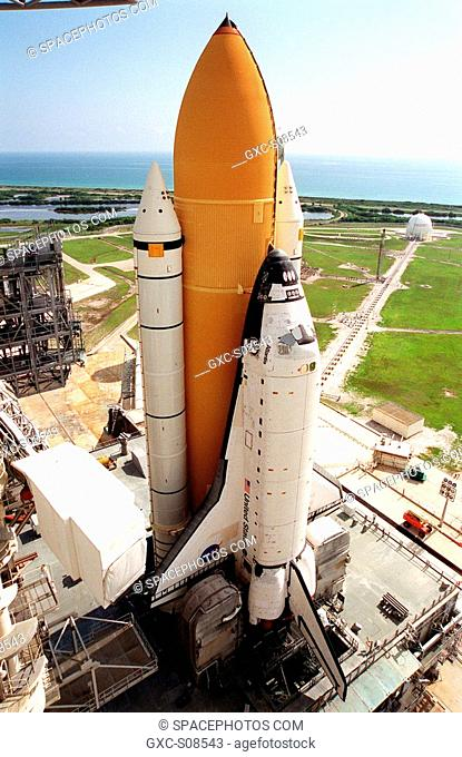 06/21/2001 -- Atop the mobile launcher platform, Space Shuttle Atlantis sits on Launch Pad 39B after rollout from the Vehicle Assembly Building