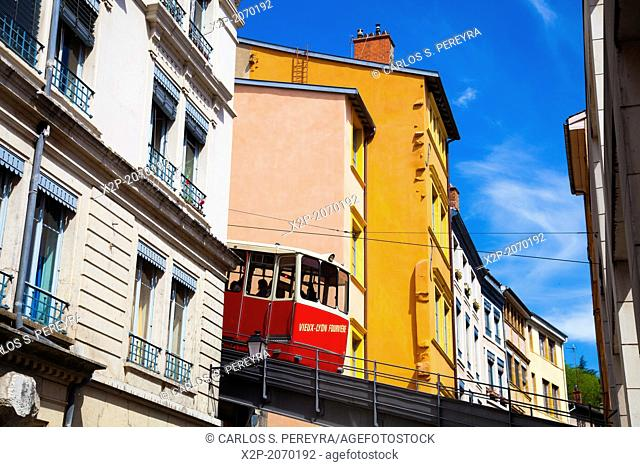 Funicular. France, Rhone, Lyon, historical site listed as World Heritage by UNESCO, Vieux Lyon Old Town
