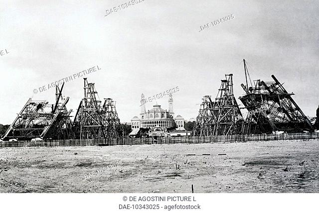 The four pillars of the Eiffel Tower under construction in Paris, 1888. France, 19th century
