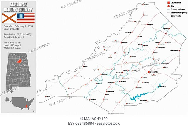 Large and detailed map and infos about Blount County in Alabama