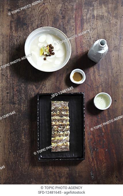 Pork and Tteokguk (rice cake soup, Korea)