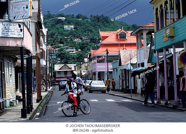 LCA, Saint Lucia: the streets of Castries, the capital of St. Lucia