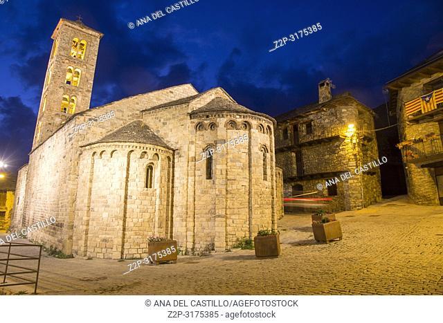 Santa Maria romanesque church Taull village by night Boi valley Lleida Catalonia Spain