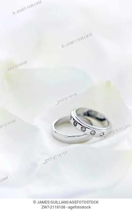 Two wedding rings his and hers set amongst white Rose petals