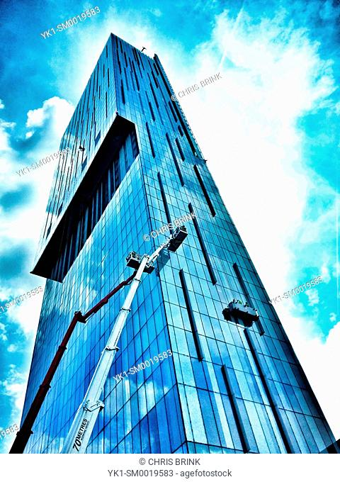 Window cleaners at Beetham tower or Hilton hotel, Manchester UK