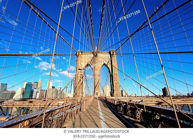 The Brooklyn Bridge, Manhattan, New York City, New York, USA