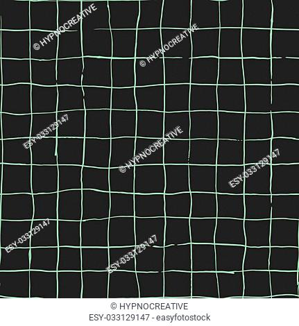 Seamless pattern design with hand drawn doodle stripes, checkered grid pattern, square shaped simple lines, perfect for all web and print purposes