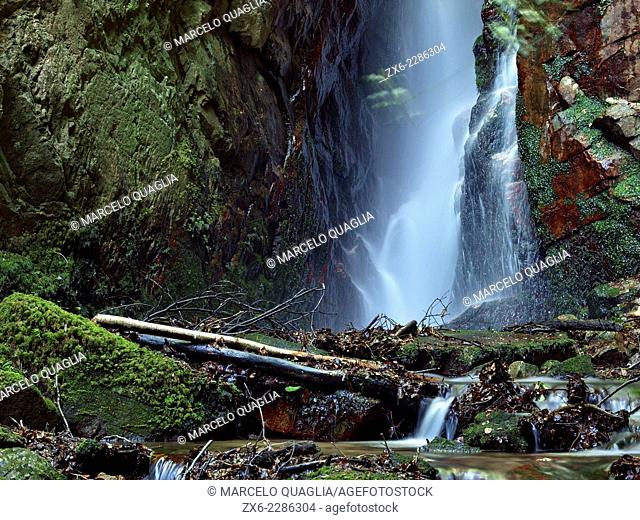 Sot de l'Infern waterfall. Arbucies countryside. Montseny Natural Park. Barcelona province, Catalonia, Spain