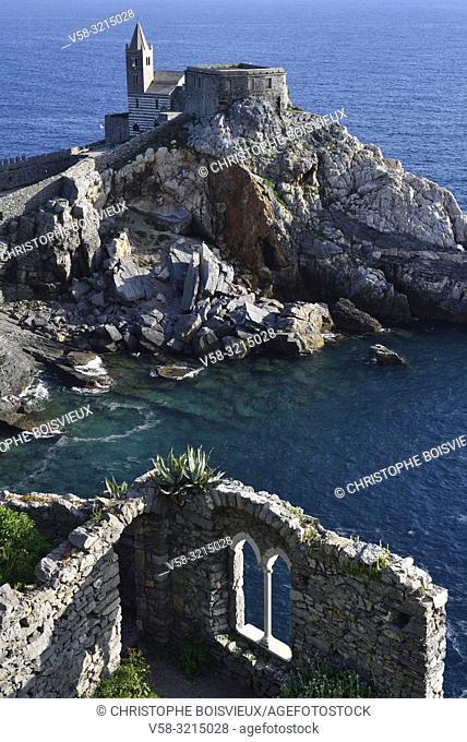 Italy, Liguria, World Heritage Site, Porto Venere, St Peter (San Pietro) church (5-13th C)