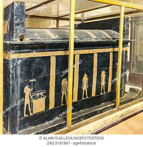Egypt, Cairo, Egyptian Museum, from the tomb of Yuya and Thuya in Luxor : Outer coffin of Yuya, canopy on sledge, wood. With figures of Thot, Anubis, Hapy