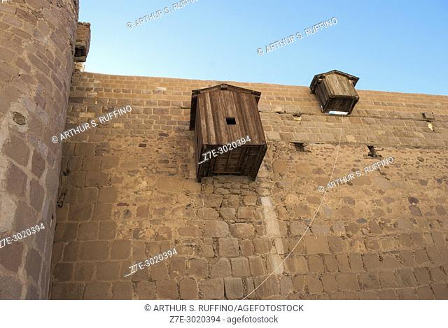Detail of monastery wall at foot of Mount Sinai. Saint Catherine's Monastery, one of the oldest Christian monasteries in continuous use