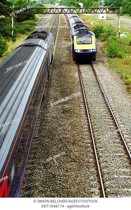 Commuter Trains on the Cardiff Central to London Paddington Line  England, United Kingdom  GNER 43 Class Diesel HST trains Operated by First Great Western