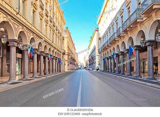 Via Roma central high street in Turin Italy
