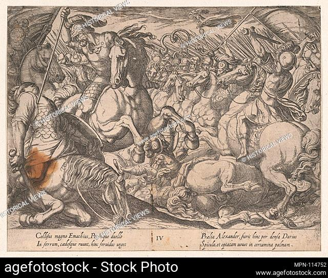Plate 4: Alexander Battling the Persians, from The Deeds of Alexander the Great. Artist: Antonio Tempesta (Italian, Florence 1555-1630 Rome); Publisher:...