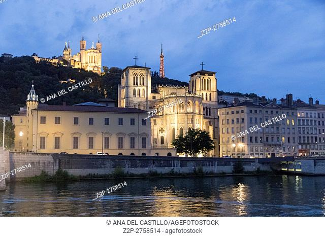 View of Saone river by night, on August 8, 2016 in Lyon, France. Cathedral view