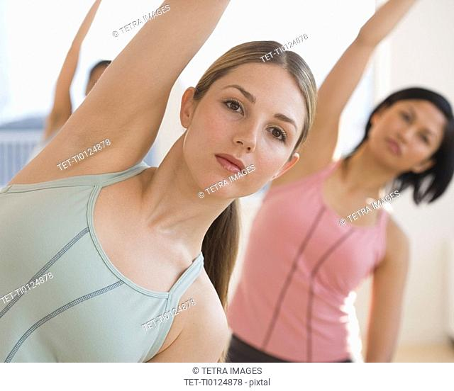 Close up of woman exercising