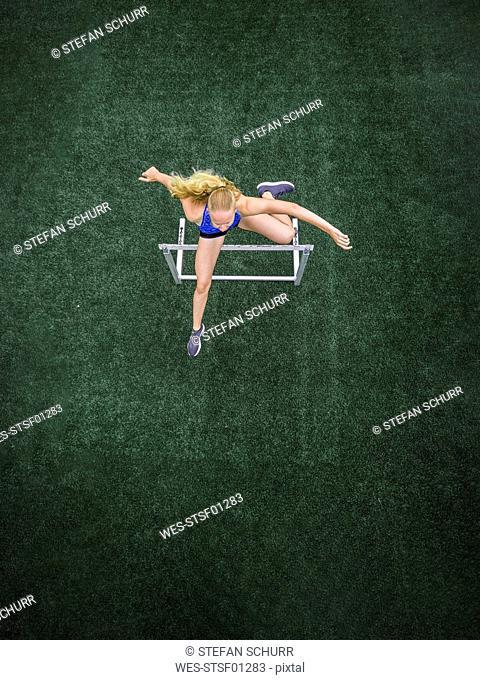Jumping hurdler, top view