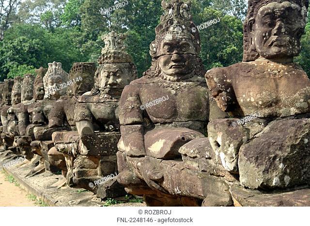 Statues of Buddha in row, Angkor Wat, Angkor, Cambodia