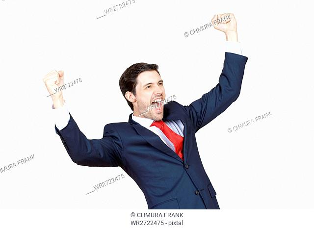 young business executive in suit cheering jumping in the air isplated on white