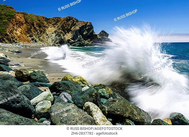 Boulders and crashing surf, Limekiln State Park, Big Sur, California USA