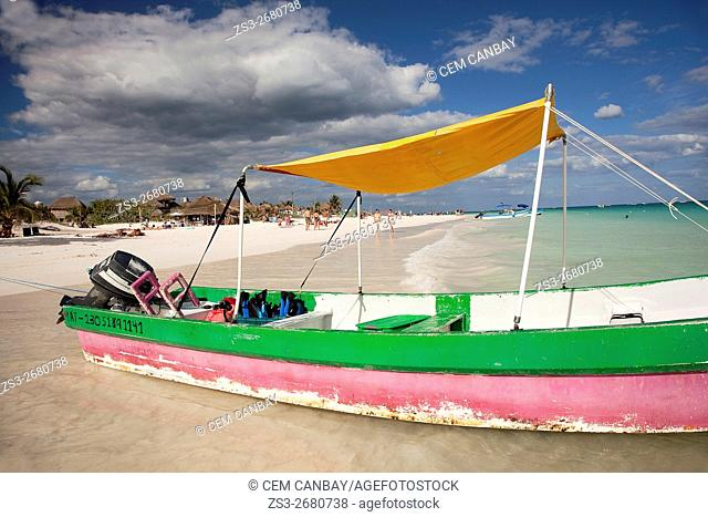 Fishing boats at the beach, Tulum, Quintana Roo, Yucatan Province, Mexico, Central America