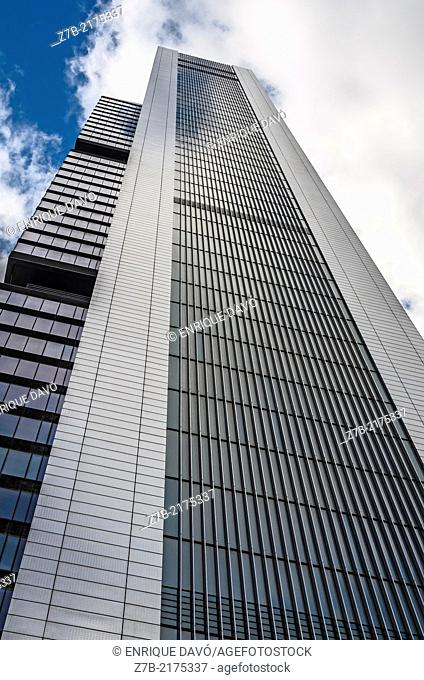 Vertical view of a tower in Castellana street, Madrid city, Spain