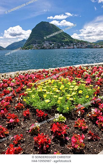 Switzerland, Europe, flowers, flowerbed, lake, canton, TI, Ticino, Southern Switzerland, park, walking, Lugano, lake Lugano, San Salvatore, Parco Ciano