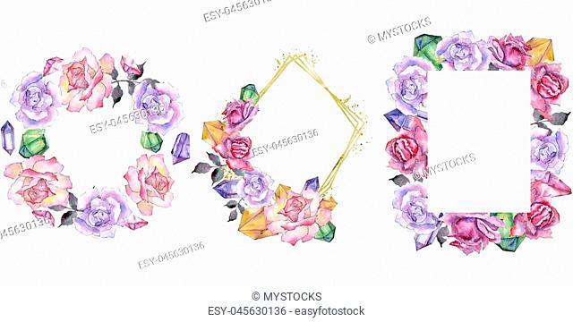 Pink rose. Floral botanical flower. Frame border ornament square. Aquarelle wildflower for background, texture, wrapper pattern, frame or border