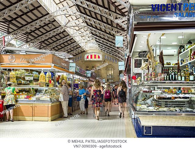 The indoor Central Market (Mercat Central / Mercado Central), Valencia, Spain, Europe. The Central Market is a large indoor market containing over 950 stalls...