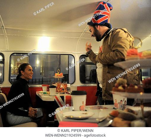 Mel B and X Factor finalist Andrea enjoying afternoon tea and champagne while touring London on a Route Master bus Featuring: Melanie Brown