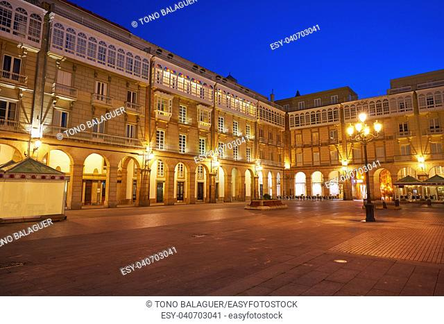 La Coruna Maria Pita Square of Galicia Spain