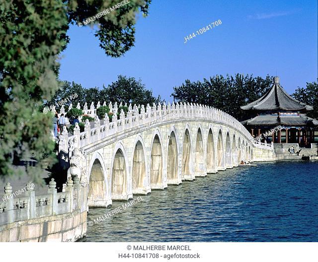 China, Asia, Beijing, Kunming Lake, Summer Palace, Seventeen-Arch Bridge, Pavilion, Knowing, Spring, Asia, water, Chin