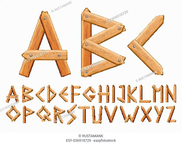 Letter made from wooden boards for your design, vector set