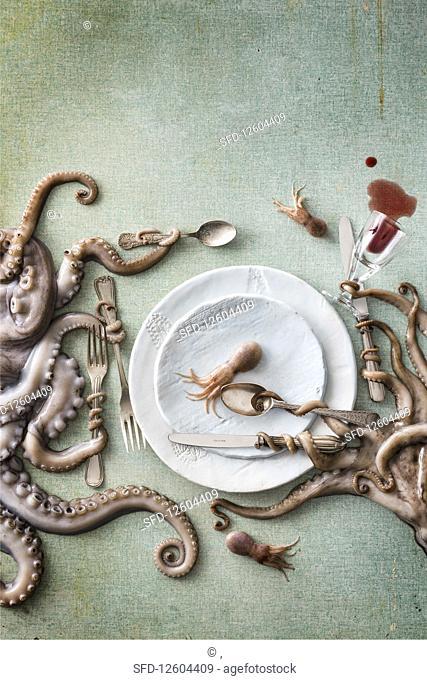 Octopus and squid still life