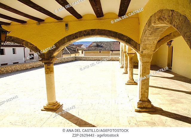 Hinojosa de Jarque village, Teruel province Aragon Spain. Arcades in the main square