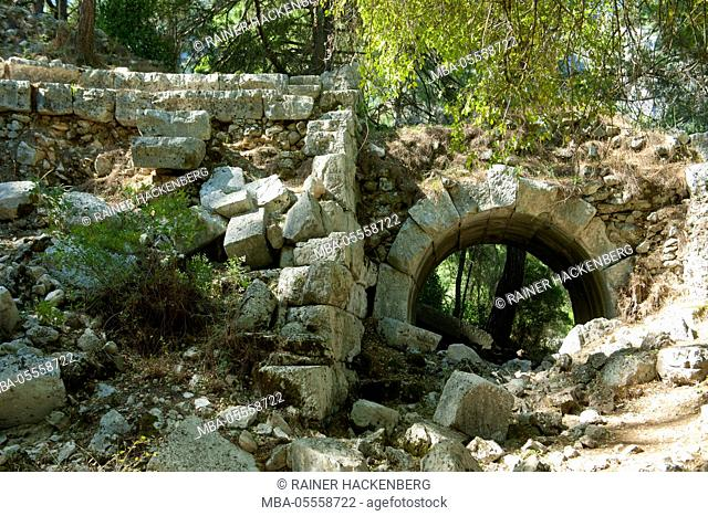 Turkey, Antalya, Olympos, excavations of the antique city of Olympos, the theatre